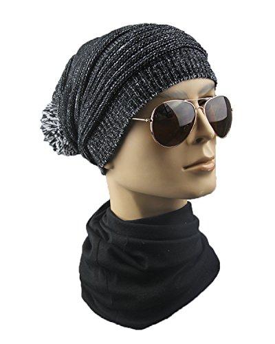 para gorro lana lana gorro Gorra lana con de invierno y de doble Negro de qIvwFP