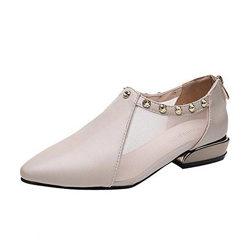Pointed Toe Single Shoes, Clearance! Duseedik Women Shallow Zipper Rivets Low Heel Flat Mesh Party