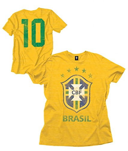 Brazil Soccer Shoes (Brazil Soccer Team Logo Number 10 Adult Yellow T-Shirt (Adult Large))