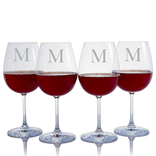 Personalized Crystal Waterford Vintage Deep Red Wine 4 pc Glass Set Engraved & Monogrammed - Great Gift for Father's Day, Weddings and - Wine Monogrammed Red