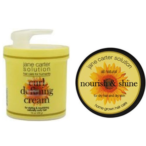 Jane Carter Nourish and Shine for Dry Hair and Dry Skin 4 oz & Jane Carter Solution Curl Defining Cream 16 oz Combo Set ()