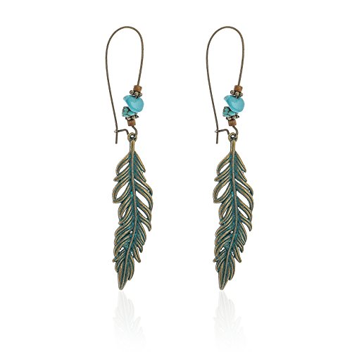Artio Leaf Earrings with Turquoise for Women and Girls ER-509 ()