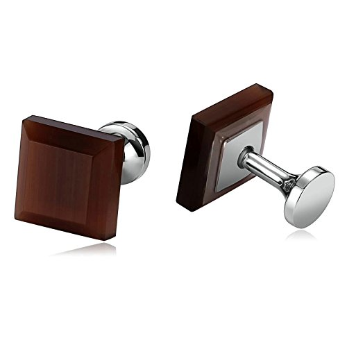 Aokarry Jewelry Stainless Steel Cufflinks for Men Silver Tone Square Brown Crystal Brown Men's Cuff Links ()