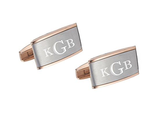 Two Tone Rose Gold and Silver Cuff Link Set Initials Engraved Free