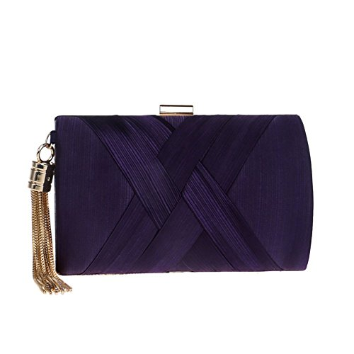 Fashion Bag Silk Dinner Tassel Package Female Dimensional Bag Bagood Purple Banquet Three Explosion Clutch Bag Evening qRYzwnX