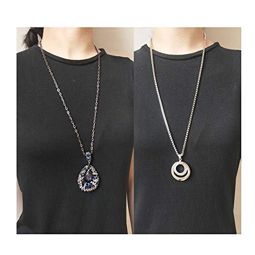 YANCHUN 4 Pieces Long Necklaces for Women Simple Bar Coin Disc Leaf Triangle Pendant Necklace Girls Jewelry Set (H:Bluestone&Circle) (Leaf Design Necklace)