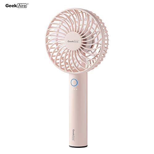 Geek Aire Rechargeable Mini Personal Handheld Fan, with USB Rechargeable Lithium-ion Battery, 5 Speed Settings, Cordless,Electric Fan for Household Office Traveling Outdoor, Sakura Pink