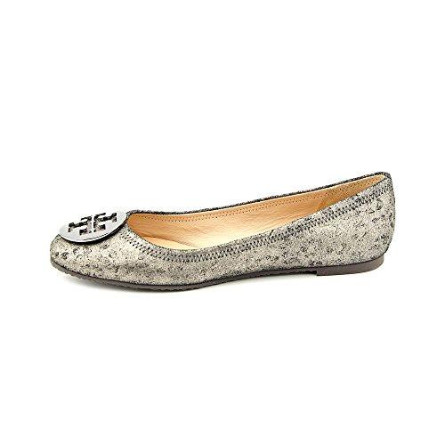Tory Burch Poeder Cheetah Print Reva Logo Ballet Flats, Antraciet / Metallic Grijs (9.5)