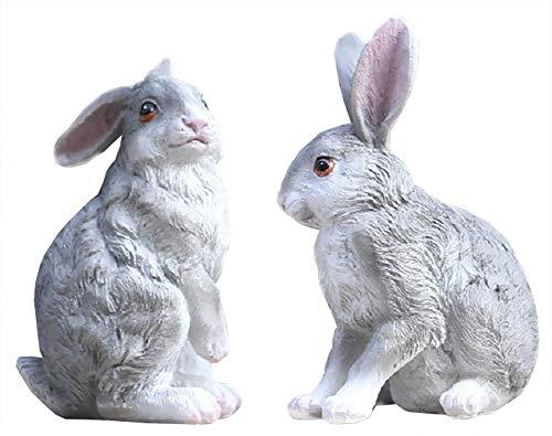 (Funnuf Polyresin Rabbit Garden Statue, 2pcs, Full Color, Standing & Squating Bunny, 6.7 Inches, Grey)