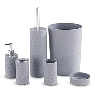 LIVIVO Stylish 6pc Bathroom & Sink Accessory Set – Modern Vanity Organiser Kit Include Tumbler, Toothbrush & Toilet…