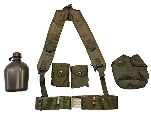 Military Outdoor Clothing Previously Issued US GI OD Green Canteen Set with Suspenders & Compass Pouches