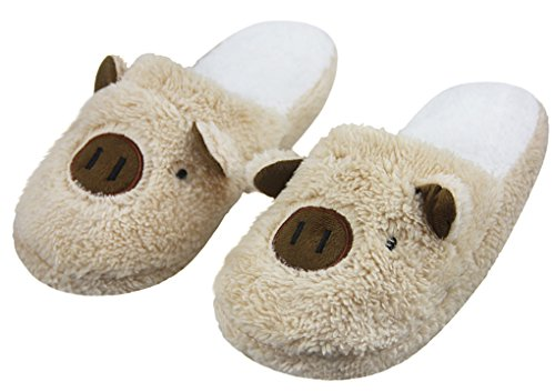 Lovely 3D Pig Soft Fleece Winter Warm Cozy Slippers Comfort Antiskid Slip-On Indoor House Slippers Shoes Footwear for Ladies Teen Girls, Great Halloween Christmas Gift Brown
