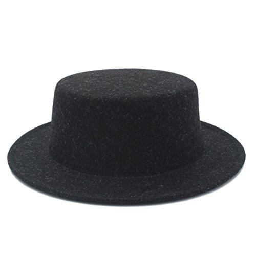 LLPBUA-HAT Boater Flat Top Hat For Women's Men' Felt Wide Brim Chapeu de Feltro Gambler Prok Pie Fedora Hat (Color : 2, Size : 57-58CM) (Womens Felt Gambler Hat)