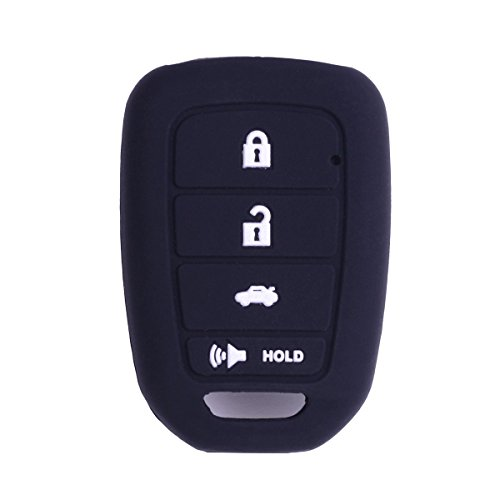 XUHANG Sillicone key fob Skin key Cover Remote Case Protector Shell for Honda Accord sports LX Civic HR-V CR-V 4 button black