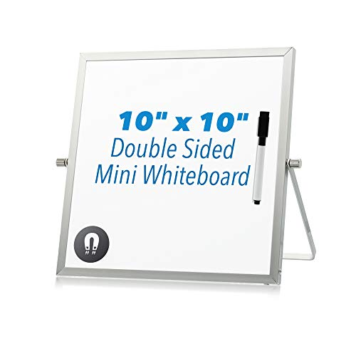 Mini Small Desktop Dry Erase Whiteboard Easel Stand - Portable Tabletop Whiteboard for Personal Office Desk Kids Students Lapboard, 10 x 10 inches Magnetic Double Sided Rotating Stand, Silver Frame ()