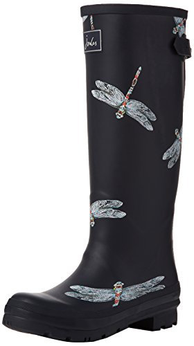 Joules Womens Wellyprint Rain Boot Navy Dragonfly