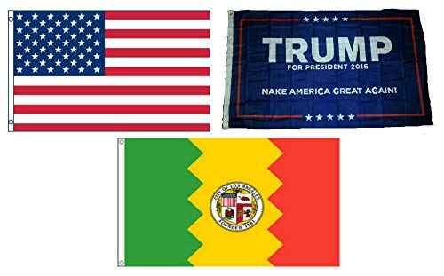 ALBATROS 3 ft x 5 ft Trump #1 with USA American with City of Los Angeles Set Flag for Home and Parades, Official Party, All Weather Indoors Outdoors ()