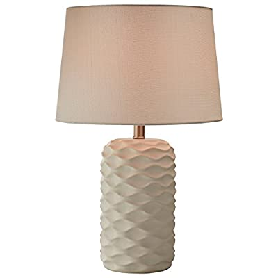 "Rivet Mid Century Modern Ceramic Wave Living Room Table Lamp With LED Light Bulb and Shade - Inches, White - Tones of white come together to form waves on the ceramic base of this modern, textured lamp. These artsy touches are topped off by a white fabric shade for a look that will blend with any décor -- classic, modern or transitional. 15"" Diameter x 23.25""H Ceramic base, metal socket and fabric shade - lamps, bedroom-decor, bedroom - 41tnZp4gzXL. SS400  -"
