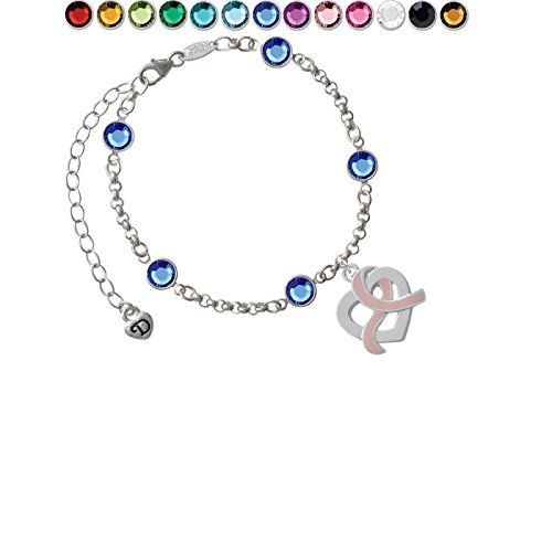 Heart Outline with Pink Ribbon Looping Through Custom Crystal Color Fiona Charm Bracelet