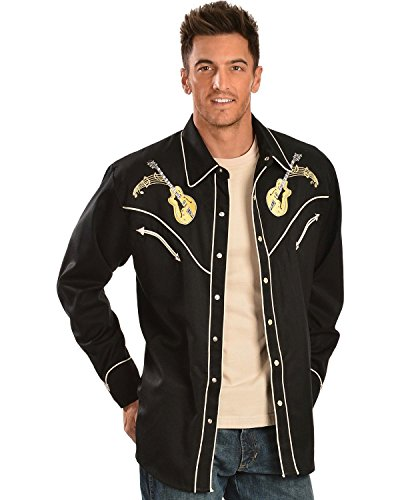 Scully Men's Rock 'N Roll Embroidered Retro Western Shirt Black Medium