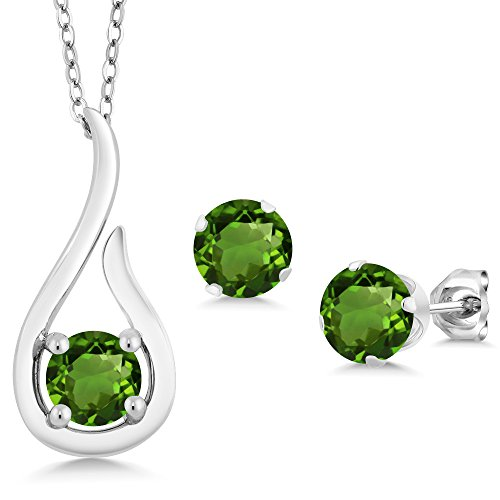 Carats Green 1.50 - Gem Stone King 1.50 Ct Green Chrome Diopside 925 Sterling Silver Pendant Earrings Set With Chain