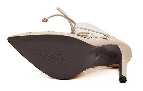 XiuHong Shop Plus Plus Plus Größe Schuhe Frauen Strappy Absätze Pumps 2015 sexy Ausschnitte Damenschuhe schnüren hoch Absätze Damen spitz Zeh Pumps Kleid Schuhe Aprikose 608025