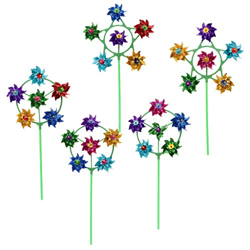 MagiDeal 10 Pieces Plastic 6-Wheel Flower Metallic Pinwheel, Windmill Wind Wheel, Kids Outdoor Toy Garden Yard Lawn Party Festival Decor, Assorted Color by Unknown