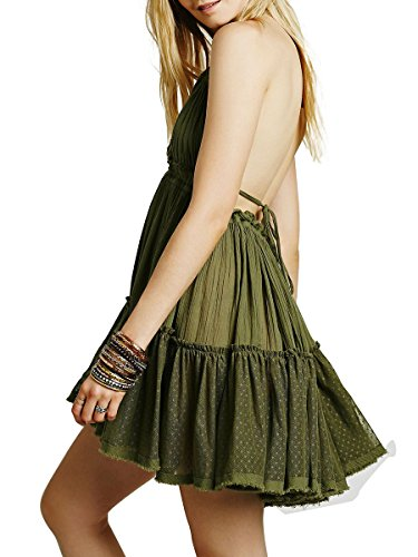 Neck Halter Green CA Backless Mode Short Sexy Deep Women's V Dress Mini Dresses qnwWfSgx6a