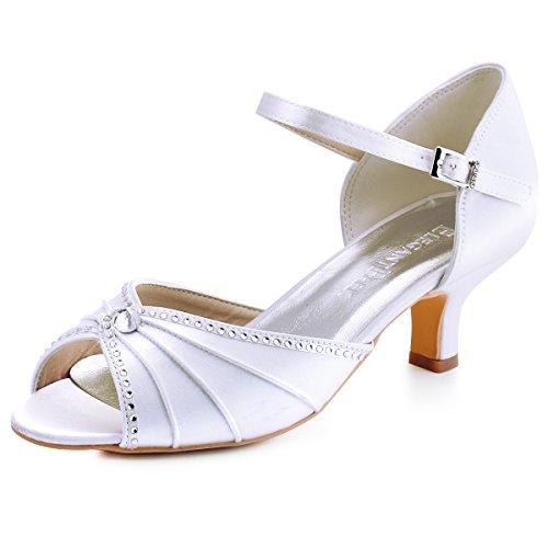 ElegantPark HP1623 Women's Sandals Peep Toe Mid Heel Pumps Pleated Rhinestones Satin Wedding Bridal Shoes White US ()