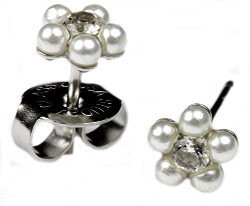 Ear Piercing Earrings 5mm White Pearl Daisy Flower Silver Studs Studex System 75 Hypoallergenic