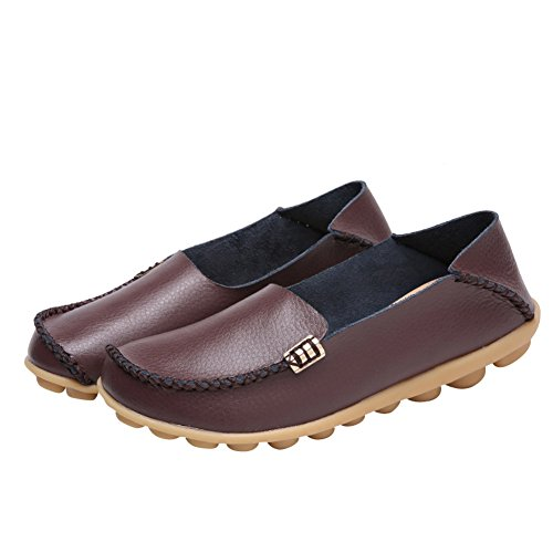 Toe Flats Round Casual Brand Shoes Leather Best Moccasins Brown Loafers Driving Show Women's Wild Fashion Y708w7
