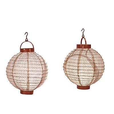 Burlap Print Light-Up Lanterns 2 sets