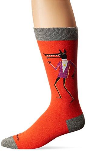 K. Bell Socks Men's Shag Artist Series Crew Socks, Wolves (Red) Shoe Size: 6-12
