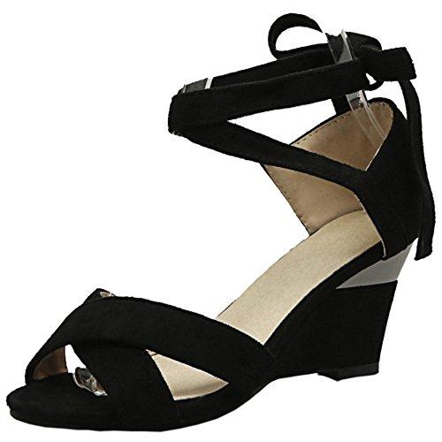 TAOFFEN Women Simple Lace-up Peep Toe Wedges Heel Sandals Black 0aBmSXms