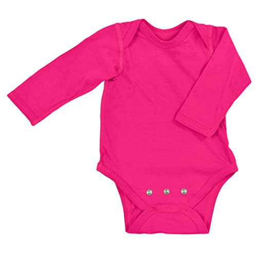 (i play. Baby Long Sleeve Organic Adjustable Bodysuit, Fuchsia, 12-18 Months)
