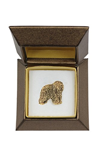 Polish Lowland Sheepdog (Dark), Dog pin, Badge, Brooch, millesimal fineness 999, in Casket, Box, ArtDog