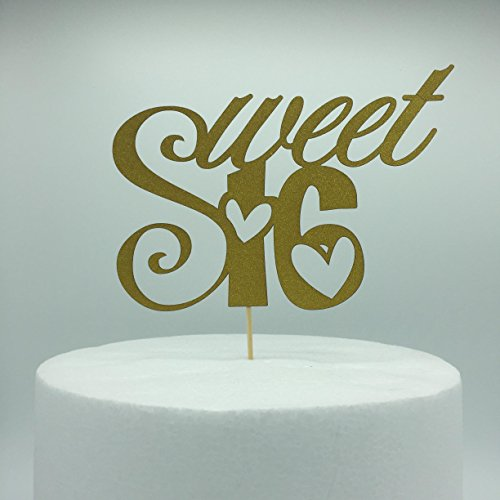 Double Sided Gold Monogram Sweet 16 Cake Topper, 16th Birthday Anniversary Cake Topper For Sweet 16 Party Themes Decoration Supplies Pack of 2 (Themes For A Sweet 16)