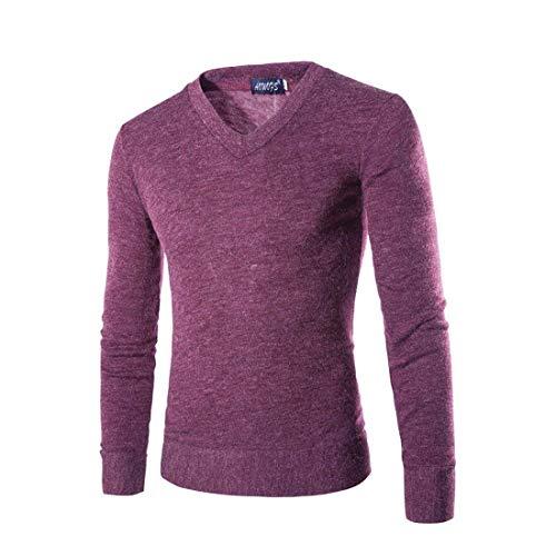 Suéter De Punto Color Cuello V Invierno Otoño Larga Manga Purple Camisas Para Redondo Moda E Modernas En Liso Con Sólido Hombre 1dqxv