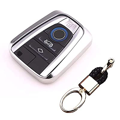Royalfox(TM Luxury Soft TPU Smart 4 Buttons Key Fob case Cover for BMW i3 i8 2014 2016 2020 with Keychain Key Ring BMW i Key Cover (Silver): Automotive