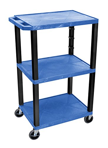 H WILSON WT42BUE-B Mobile Multipurpose Tuffy Cart, 3 Plastic Shelves, Blue and Black