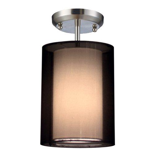 Z-Lite 144-6BK-SF Nikko One Light Semi Flush Mount, Metal Frame, Brushed Nickel Finish and Black Shade of Organza Material -