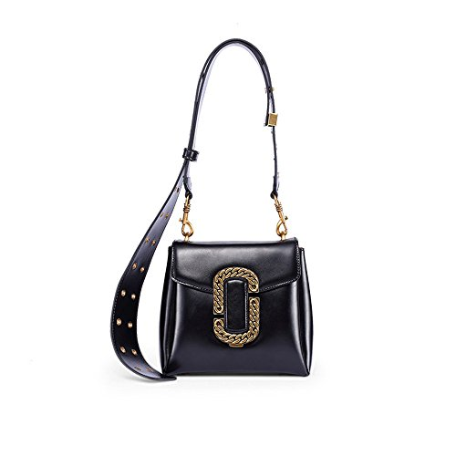 16cm Bag Strap 18 Leather Black Shoulder Wide 10 XDDB Messenger Small wqvnZxvY