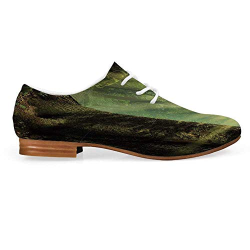 Nature Leather Oxfords Lace Up Shoes,Deep Down in Forest with Sunbeams Reflections on Moss Tree Bodies Scenery Bootie for Girls ladis Womens,US 8