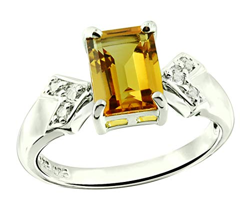 RB Gems Sterling Silver 925 Ring GENUINE GEMS Octagon 8X6 mm RHODIUM-PLATED Finish, CLASSIC SOLITAIRE (citrine, 9)