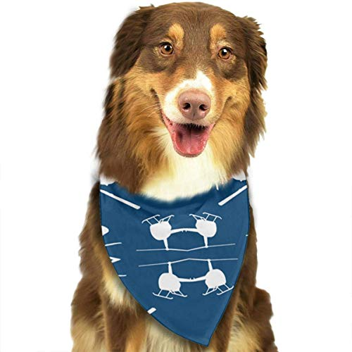 Helicopter Silhouettes Blue Dog Bandana - Small Medium and Large Bandanas for Every Occasion Or Holiday - Easy to Tie On Your Cats Or Dogs Or Puppy - Comfortable and -