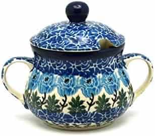 Polish Pottery Sugar Bowl - Antique Rose