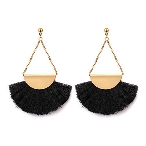 Fan Shape Tassels Dangle Stud Earrings For Women's Girls Bohemia Ethnic Eardrop Jewellery by SUNSCSC (W682A)