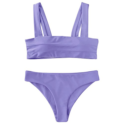 (ZAFUL Women's Wide Straps Padded Solid Two Piece Bandeau Bikini Set Swimsuit(Purple, L))