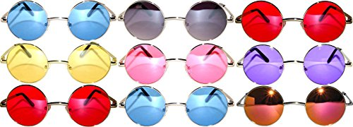 Lot of 9 Pairs wholesale Round Lens Sunglasses Metal Frame wholesale Retro Circle Colored Tint Hippie Hipster Vintage Spring - Round Wholesale Sunglasses