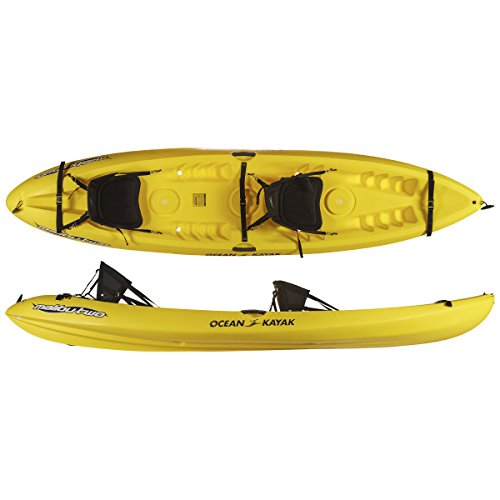 Ocean Kayak Malibu Two Tandem Sit-On-Top Recreational Kayak, Yellow, 12 Feet